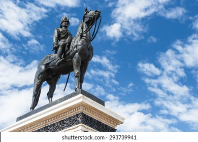 BANGKOK, THAILAND - JUNE 30: King Rama V Equestrian Monument on Ratchadamnoen Road on June 30, 2015 Bangkok, Thailand