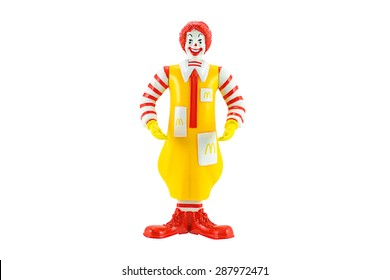 Bangkok, Thailand - June 4, 2015: Ronald Mcdonald Mascot of a McDonald's Restaurant.  There are plastic toy sold as part of the McDonald's Happy meals.