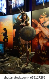 Bangkok, Thailand - June 4, 2017: Beautiful Standee of Movie Wonder Woman displays at the theater