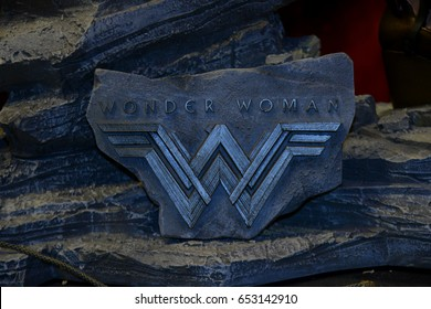 Bangkok, Thailand - June 4, 2017: Logo From The Movie Wonder Woman displays at the theater