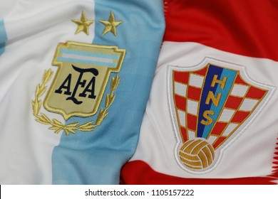 BANGKOK THAILAND - JUNE 4: the logo of Argentina and Croatia on Football Jersey on June 4,2018