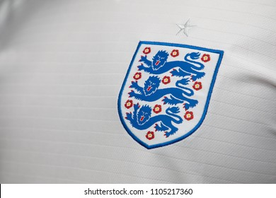 BANGKOK THAILAND - JUNE 4: the logo of  England National Football Team on Football Jersey on June 4,2018