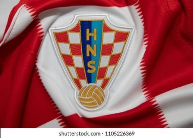 BANGKOK THAILAND - JUNE 4: the logo of  Croatia National Football Team on Football Jersey on June 4,2018