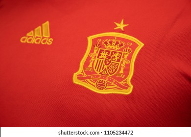 BANGKOK THAILAND - JUNE 4: the logo of  Spain National Football Team on Football Jersey on June 4,2018