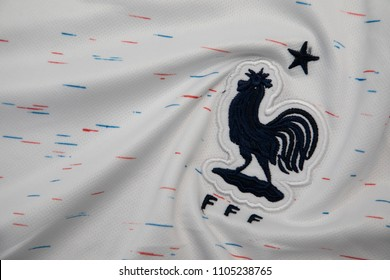 BANGKOK THAILAND - JUNE 4: the logo of  France National Football Team on Football Jersey on June 4,2018