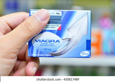 BANGKOK ,THAILAND - JUNE 4: Viagra new packaging in hand on June 4, 2016 in drugstore Bangkok. Viagra was originally developed by Pfizer as an erectile dysfunction drug