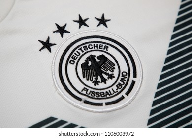 BANGKOK THAILAND - JUNE 5: the logo of  Germany National Football Team on Football Jersey on June 5,2018
