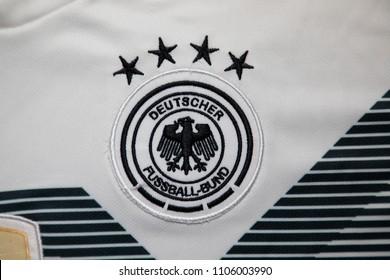 BANGKOK THAILAND - JUNE 5: the logo of  Germany National Football Team on Football Jersey on June 5,2018