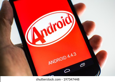 BANGKOK, THAILAND - JUNE 6, 2014: Google released Android 4.4.3 KitKat this week. The upgrade was available first for Google Nexus devices, which is standard practices.