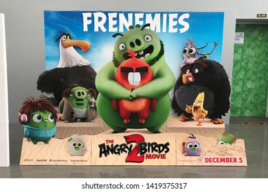 Bangkok, Thailand – June 6, 2019: The Standee of a computer-animated comedy film based on Rovio Entertainment's Angry Birds video game series The Angry Birds Movie 2 Displays at the Theater