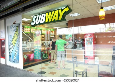 BANGKOK, THAILAND - JUNE 6 : Exterior view of Subway Restaurant on June 6, 2015 in Bangkok, Thailand. It is one of the fastest growing franchises in the world, with 43,035 restaurants.
