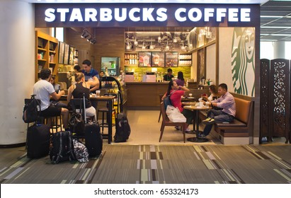BANGKOK, THAILAND- JUNE 6: Exterior view of Starbucks Coffee on June 6, 2015 in Bangkok, Thailand. Starbucks Coffee is the world's largest coffee house with over 20,000 stores in 61 countries.