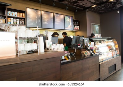 BANGKOK, THAILAND- JUNE 6: Interior view of Starbucks Coffee on June 6, 2015 in Bangkok, Thailand. Starbucks Coffee is the world's largest coffee house with over 20,000 stores in 61 countries.
