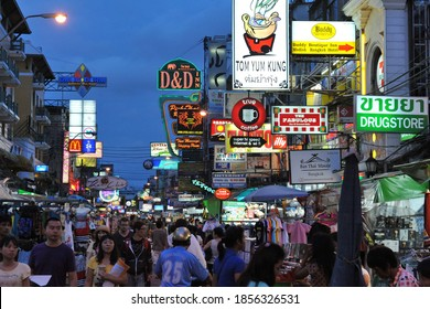 Bangkok, Thailand - June 7, 2012: Tourists and locals walk along Khao San Road. Known as a back packer haven, budget accommodation on Khao San Road starts from $6 or B200 per night.