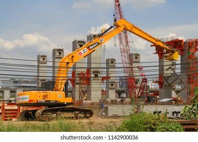 BANGKOK , THAILAND - June 7, 2015 : MRT Center Line Sky Train Construction site, preparing to construct the platform for the sky train near Bang Sue Train station , Bangkok, Thailand.