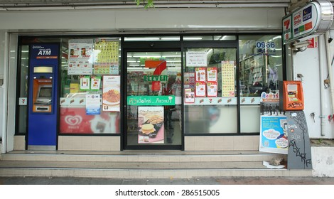 BANGKOK, THAILAND - JUNE 7 : Exterior view of 7-Eleven store on June 7, 2015 in Bangkok, Thailand. 7-Eleven is world's largest franchisor of convenience stores, with more than 46,000 shops.