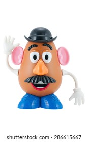 Bangkok, Thailand - June 8, 2015: Studio shot of Mr. Potato Head  character from Toy Story animation films by Disney Pixar studio.