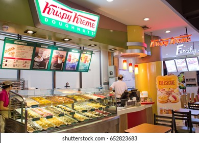 BANGKOK, THAILAND - JUNE 8, 2015 : Exterior view of Krispy Kreme Doughnut Shop in Bangkok, Thailand.