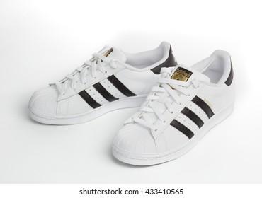 BANGKOK, THAILAND - June 8,2016: Adidas superstar shoes on white - illustrative editorial