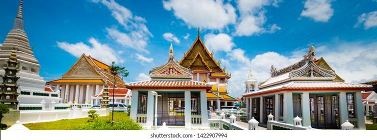Bangkok, Thailand - June,12,2019: This is the Wat Kalayanamit temple or Wat Kanlayanamit temple. This temple has big Buddha statue . Located by the Chao Phraya River ,Bangkok, Thailand.(Panoramic Phot