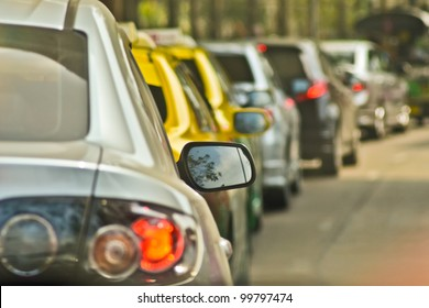 BANGKOK, THAILAND - A long queue of cars stuck in a traffic jam during peak rush hour