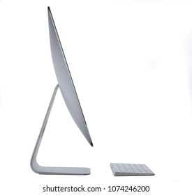 BANGKOK, THAILAND - Mar 10, 2018 : Apple Computer Screen on White background in side view