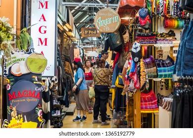 BANGKOK, THAILAND - MAR 15 : Tourist are shopping at Chatuchak Market on March 15, 2019 in Bangkok, Thailand. Chatuchak Market is the largest market in Thailand.