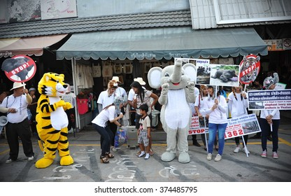 BANGKOK, THAILAND - MAR 16, 2013: Animal rights activists campaign against the ivory trade and wild animal poaching at a city centre market. Thailand is infamous for its role in the ivory trades.