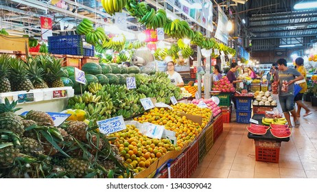 BANGKOK, THAILAND - MAR 16: Tropical thai fruits sell at Or Tor Kor market in Bangkok, Thailand on March 16, 2018. Or Tor Kor is one of the biggest food market in Bangkok.