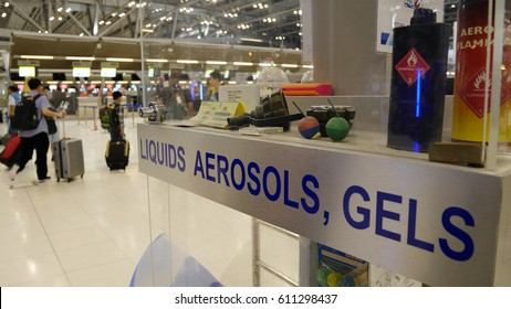 BANGKOK, THAILAND - MAR 20, 2017: An example of items prohibited in cabin and checked baggage. The information for tourist in Suvarnabhumi International Airport Bangkok, Thailand.