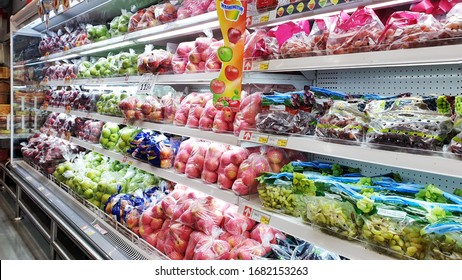 BANGKOK, THAILAND - MAR 25: Food products display at Makro supermarket in Bangkok on March 25, 2020. Makro is an originally wholesale center in Thailand, also called cash and carries.