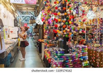 BANGKOK, THAILAND - MAR 25 : Tourist are shopping at Chatuchak Market on March 25, 2017 in Bangkok, Thailand. Chatuchak Market is the largest market in Thailand.
