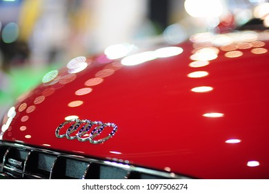 BANGKOK, THAILAND - MAR 26, 2010: The emblem on the back of a Audi logo car on display at Bangkok Motor Show. Audi AG is a German automobile manufacturer and member of the Volkswagen Group.