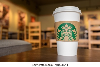 Bangkok, Thailand - Mar 26, 2016 : Starbucks take away coffee cup with logo, Starbucks is the world's famous coffee brand from USA.