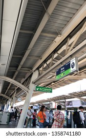 Bangkok, Thailand - Mar 28, 2019 : People standing in lines waiting for BTS sky train at Chidlom station.Weekdays, not much people use the BTS Skytrain.lifestyle of people in Bangkok use BTS.