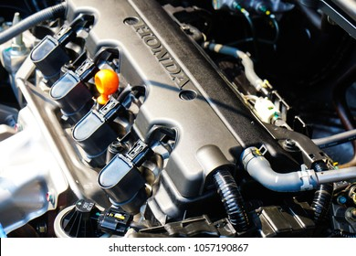 Bangkok, Thailand, Mar 29, 2018 : HONDA logo, Black engine, editorial honda hrv Close up detail of new car engine
