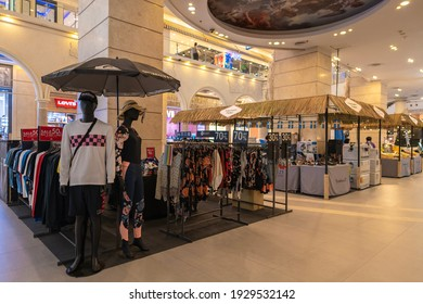 Bangkok, Thailand - MAR 4, 2021: Apparel booth selling their products at a discount price at Terminal 21 Asok.