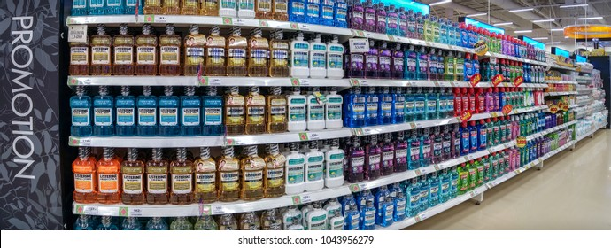 BANGKOK, THAILAND - MARCH 03: Various brands and flavors of mouth washes fully stocked on the shelves of BigC Extra Petchkasem superstore in Bangkok on March 03, 2018.