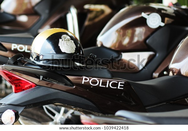 BANGKOK, THAILAND - March 05,2018 Police motorcycles or police bikes with police helmet park at Ladkrabang Police Station