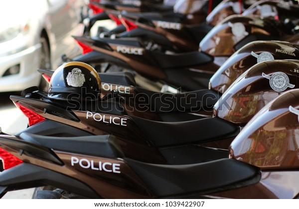 BANGKOK, THAILAND - March 05,2018 Police motorcycles  or police bikes park at Ladkrabang Police Station