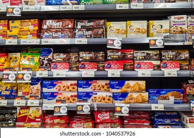 BANGKOK, THAILAND - MARCH 06, 2018: Variety of Cookies and Snack on shelf at Tops market. Tops is a grocery chain in Thailand.