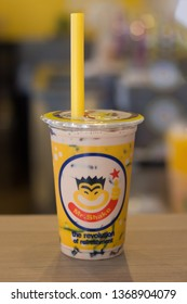 Bangkok, Thailand - March 07, 2019 : MR.Shake best of bubble black pearls Thai milk tea, This branch is located at Chatuchak, Bangkok, TH
