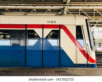 BANGKOK, THAILAND. MARCH 08, 2019: BTS Skytrain with platform background at the morning time, BTS Skytrain is a mass transit system which provided facility for the Bangkok metropolis.