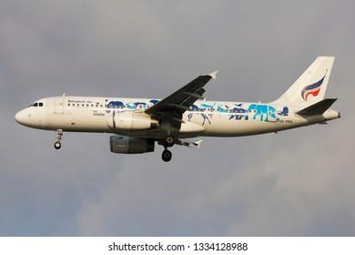 Bangkok / Thailand -March 09 2019 -  Bangkok airways Airbus A320-200 landing at Suvarnabhumi airport BKK VTBS.