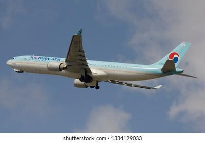 Bangkok / Thailand -March 09 2019 -  Korean air Airbus A330-300 take off  Suvarnabhumi airport BKK VTBS.