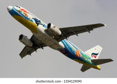 Bangkok / Thailand -March 09 2019 -  Bangkok airways Airbus A320-200 take off  Suvarnabhumi airport BKK VTBS.