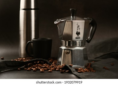 BANGKOK, THAILAND - MARCH 09, 2021: The Bialetti Moka Express Moka Pot, traditional italian style of espresso maker.