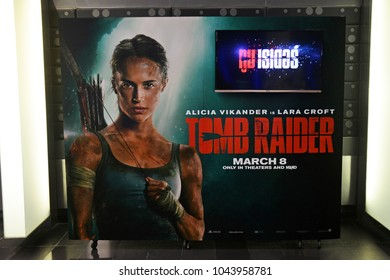 Bangkok, Thailand - March 10, 2018: Standee of American Action Adventure Movie Tomb Raider (Alicia Vikander as Lara Croft) displays at the theater