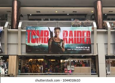 Bangkok, Thailand - March 10, 2018: Big Poster of American Action Adventure Movie Tomb Raider (Alicia Vikander as Lara Croft) displays at the theater