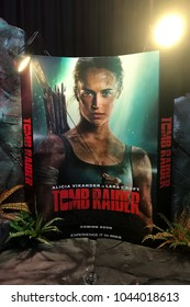 Bangkok, Thailand - March 10, 2018: Standee of American Action Adventure Movie Tomb Raider (Alicia Vikander as Lara Croft) displays at the theater
